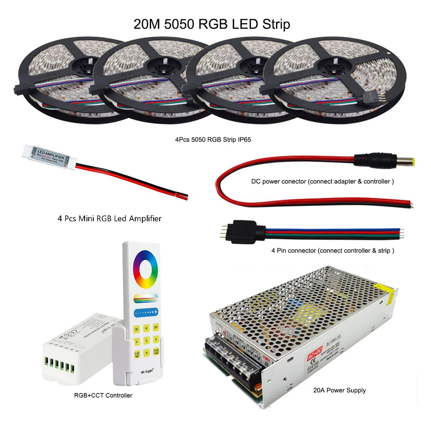 RGB LED Strip 5050 SMD Flexible Light DC 12V 60Led/m Strip Lamp+ Led Controller+Power Adapter Supply (4 in 1 line, 20m IP65 Led Strip)