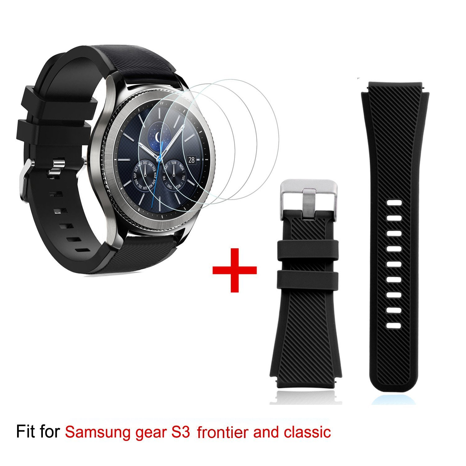 Band Replacement and Tempered Glass Screen Protectors for Samsung Gear S3[3-Pack], for Samsung Gear S3 Frontier/Classic Smartwatch (Black)
