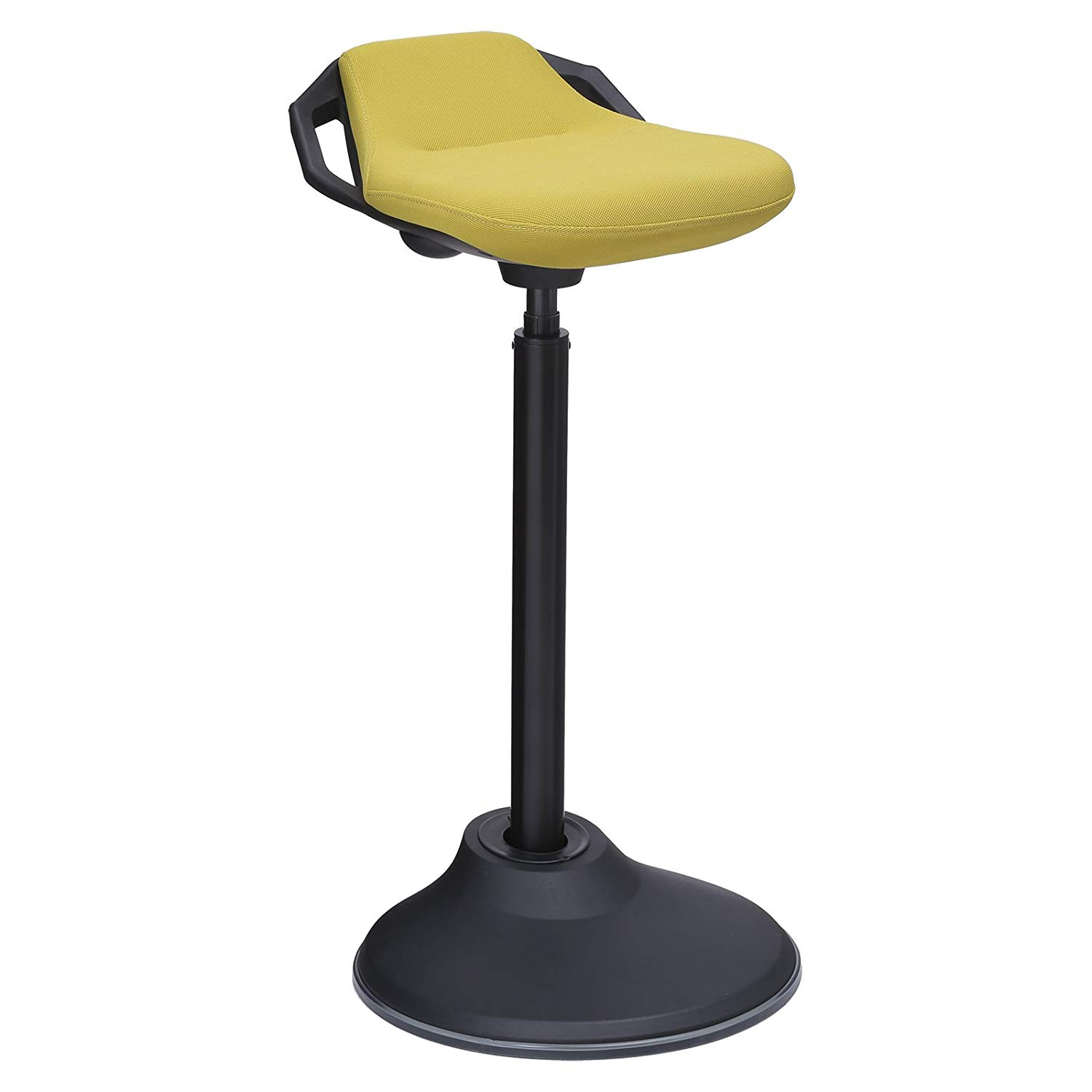 SONGMICS Adjustable Height Standing Desk Chair, 360° Swivel Ergonomic Standing Stool, Active Sitting Balance Chair for Office, Swivel Stool with Anti-Slip Bottom Pad, Fabric Yellow UOSC02GN