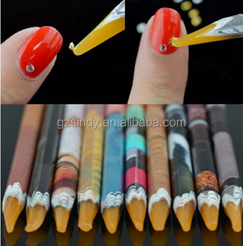 Self Adhesive Dotting Pen Nail Art Gem Rhinestones Bead Picker Pick Up Wax Tool