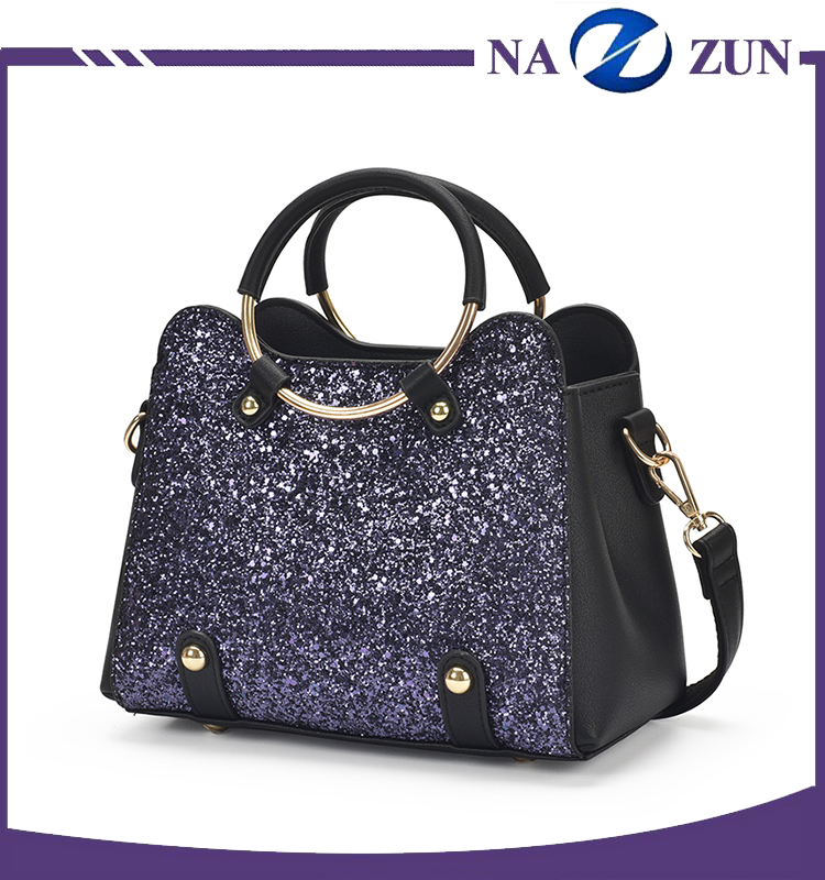 Korean Style Beautiful Sequin Handbags Metal Hand Bling bling Online Handbags Women Bags Manufacturer