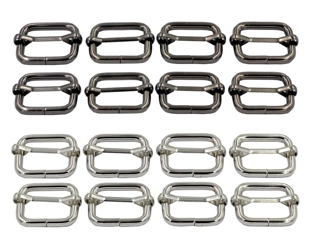 "DGOL 1""(26mm) Super Thick Tri Glide Roller Buckles Belt Strap Strong Adjustable Slide Buckles Silver + Gunmetal Total 16pcs"