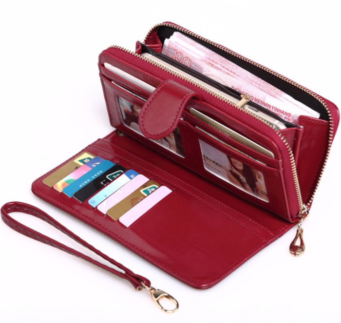 Wholesale dropshipping fashion latest design ladies long clutch purse female wax leather <strong>wallet</strong> for women