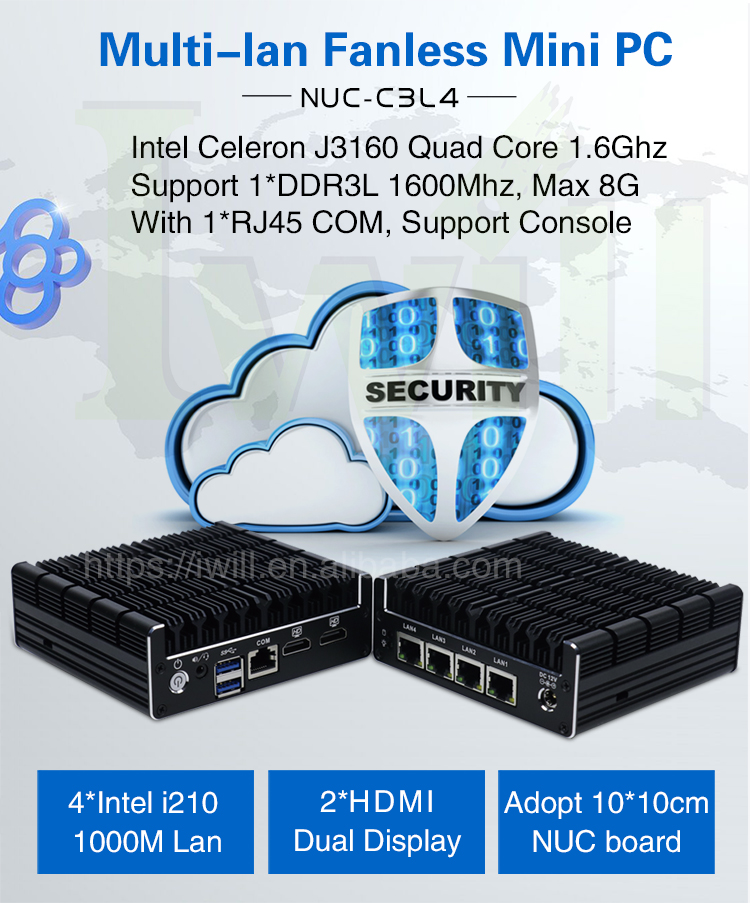 Intel celeron J3160 quad core Nuc Fanless Mini PC with 4 intel Gbe Lan for pfsense firewall or VPN