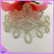 Nice AB colour sew on fashion applique on clothing stick on fabric applique
