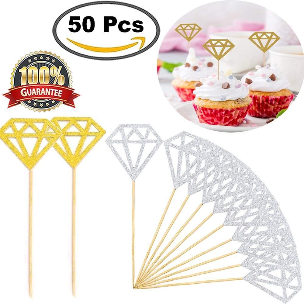get quotations diamond cupcake toppers 50 pack silver and gold glitter diamond for wedding cake decorations bridal party