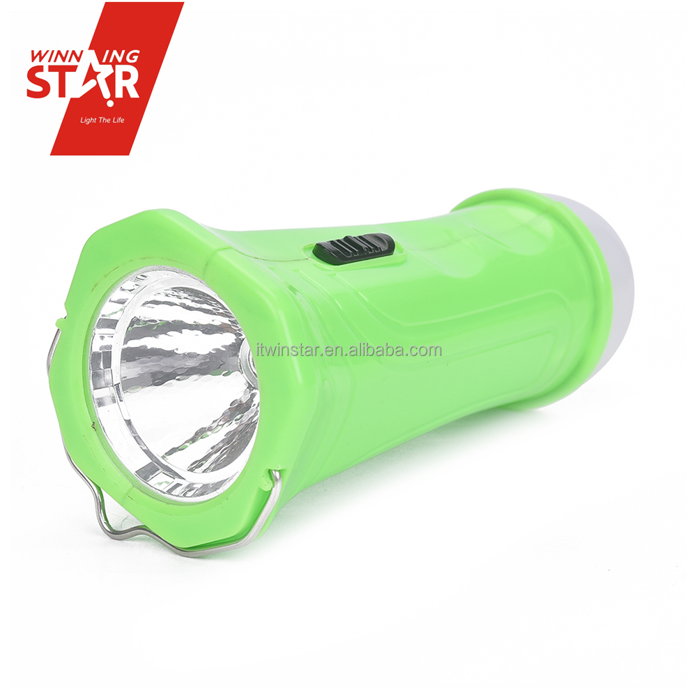 3 AA Battery Backup 9+1W LED Torch Flashlight with Iron Handle