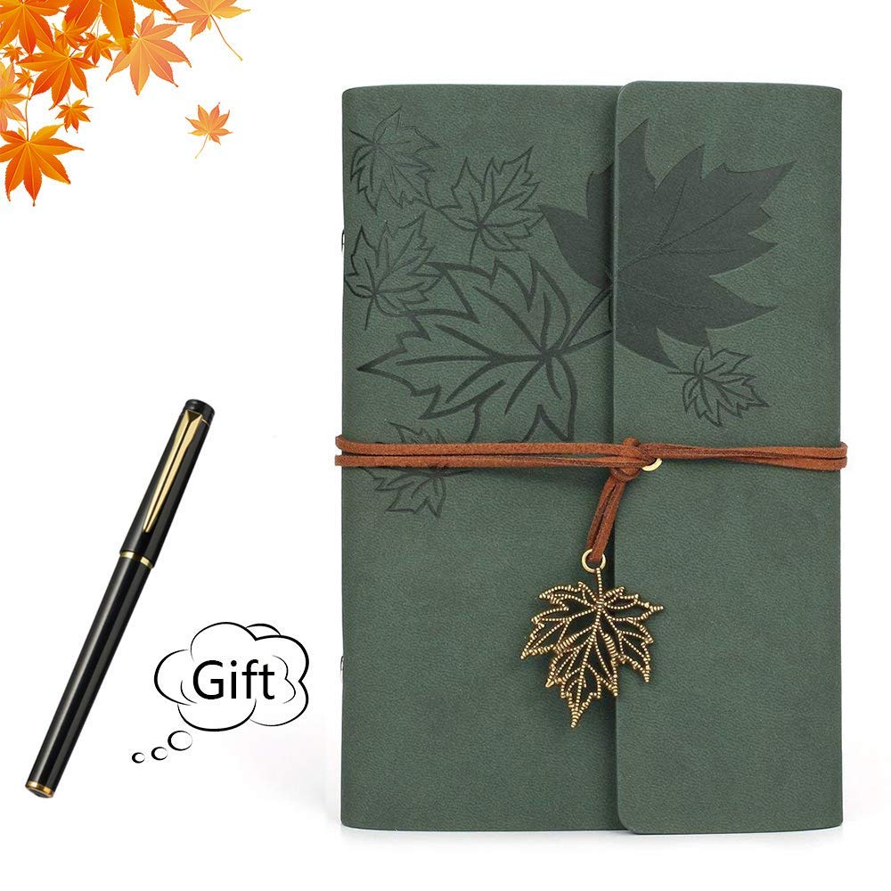 Leather Writing Journal Notebook Retro Vintage PU Leather Cover Notebook Retro Pendants Classic Embossed Travel Journal Diary Gifts Ideas Gift pen (Green, Maple leaves)
