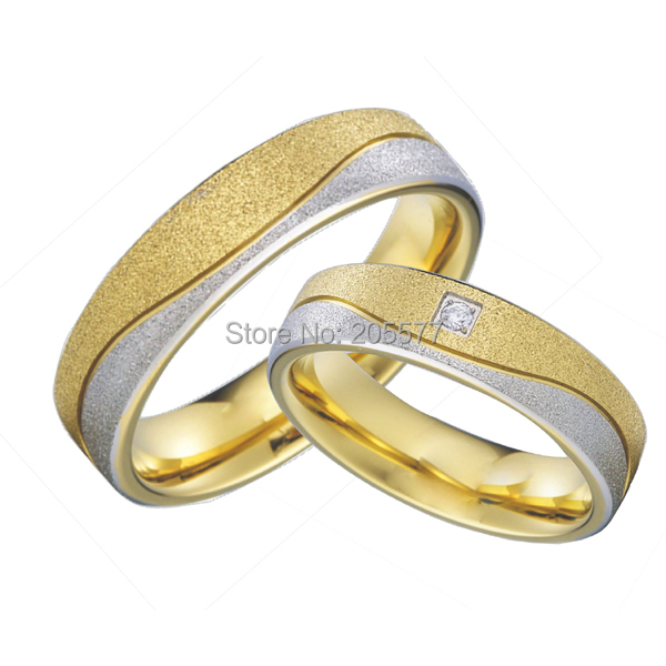 18k gold plated hypoallergenic health titanium cheap wedding bands couples rings sets for men and women aneis de titanio