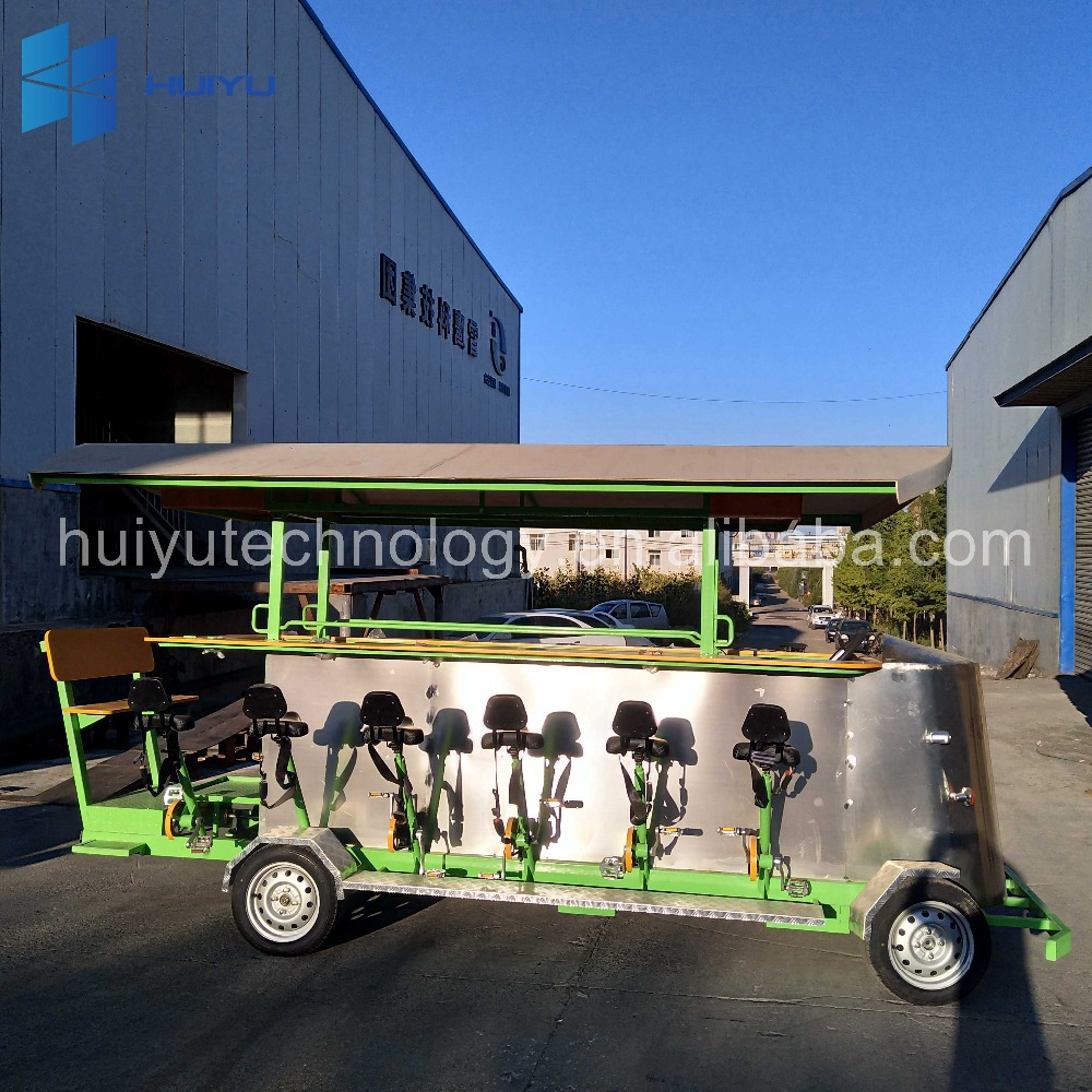 Interesting bike for rental for city tours electric pub beer bike