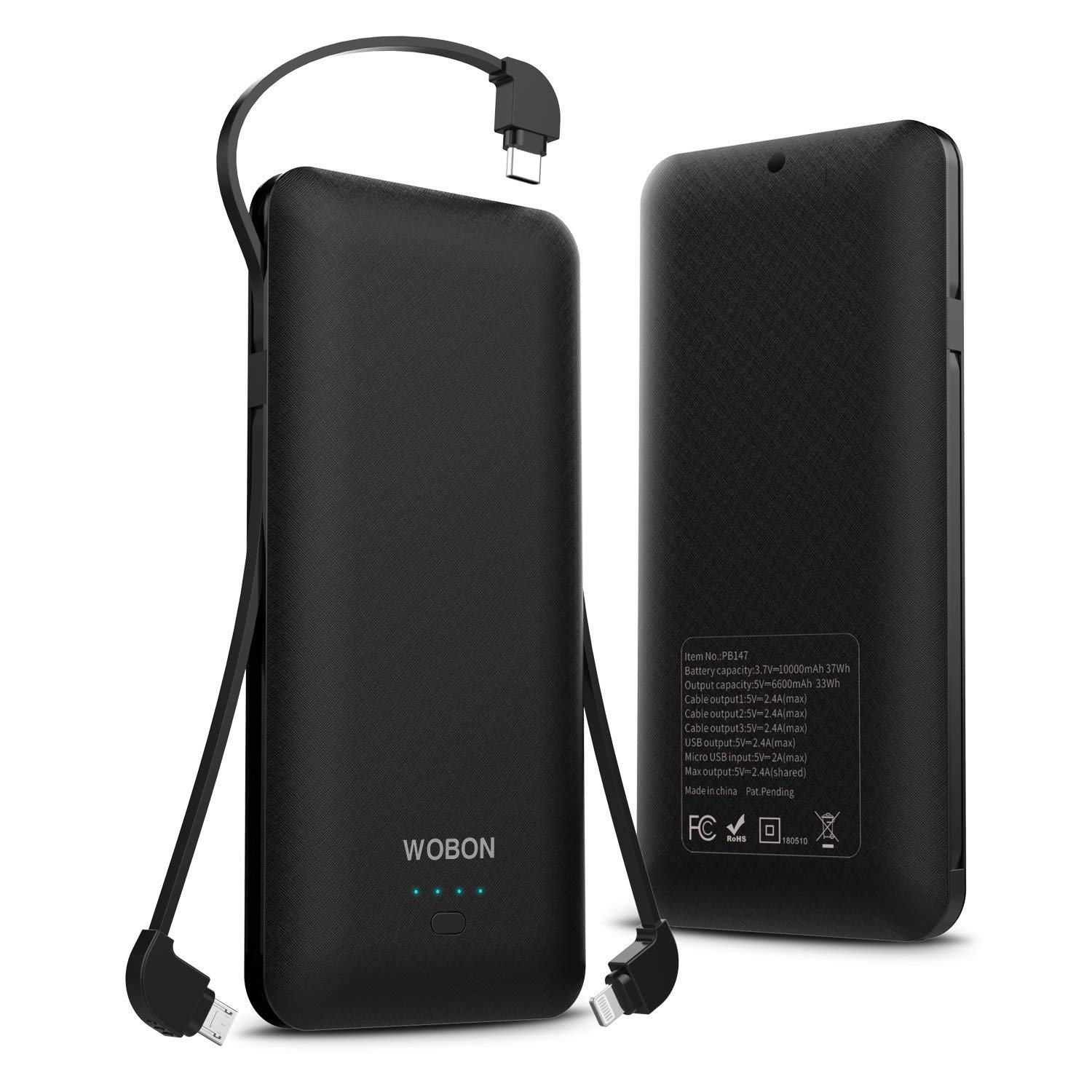WOBON Portable Charger 10000mAh Compact Power Bank External Battery Pack Ultra Slim and Light Battery Charger with Built-in Micro USB Type-c Lightning Cable for iphone, Android and More(Black)