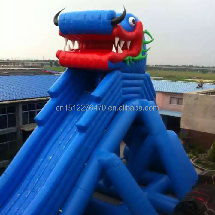 made of 18 OZ. pvc Gaint dragon commercial inflatable water slide with pool