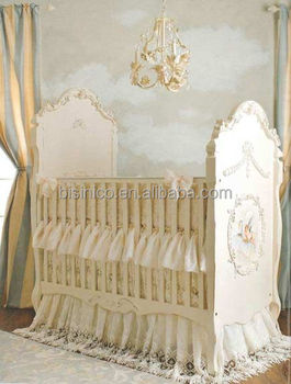 Victoria Style Lvory White Children Bed Elegant Hand Painting Wooden Baby Crib Le Nursery Bedroom Furniture Solid Wood Carved