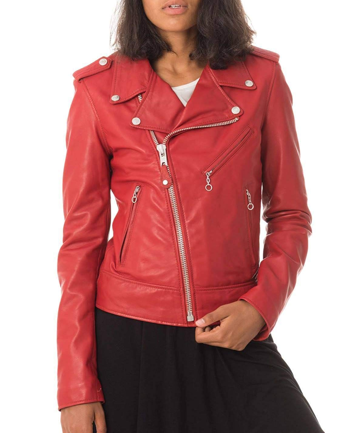 95cdeaca3af Get Quotations · Womens Leather Jacket Bomber Motorcycle Biker Real  Lambskin Leather Jacket for Womens Red
