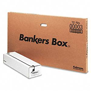 Bankers Box : Liberty Storage Box, Card Size, 6 x 23-1/4 x 4-1/4, White/Blue, 12/Carton -:- Sold as 1 CT