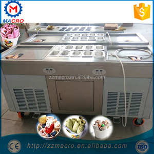 Thailand Double 2 Flat Pan Roll Fry Fried Ice Cream Machine,Three Compressors High Capacity Fried Ice Cream Rolls Machine