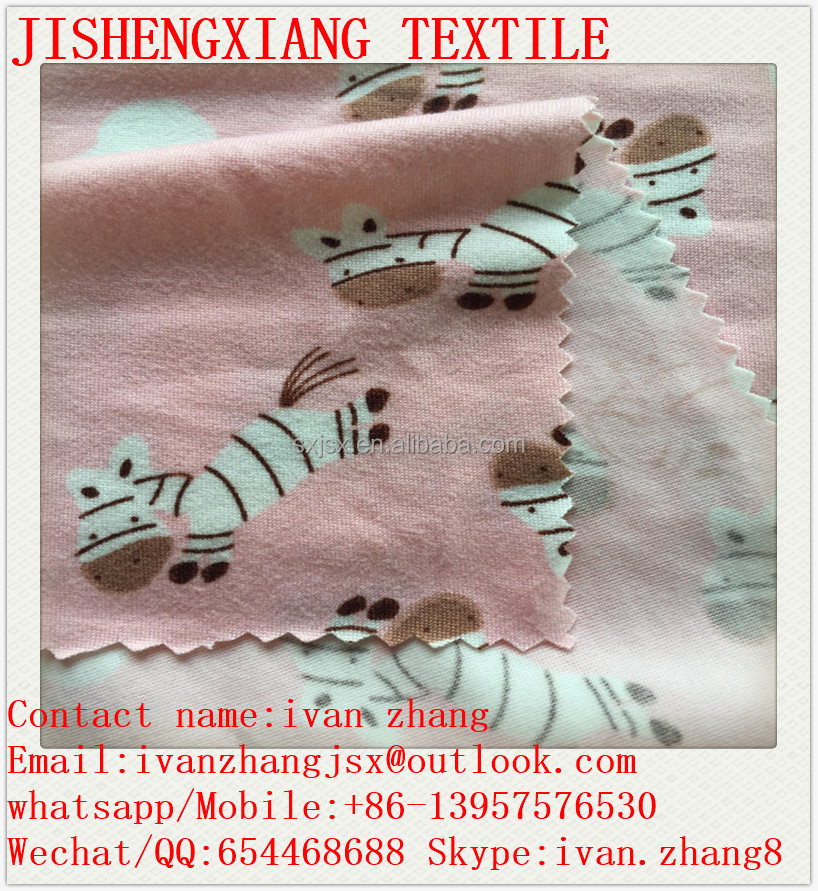 Jishengxiang Textile FDY 96%polyester 4%spandex knitted lycra printed fabric