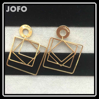 suvam plated gold square shaped earrings tops silver proddetail earring