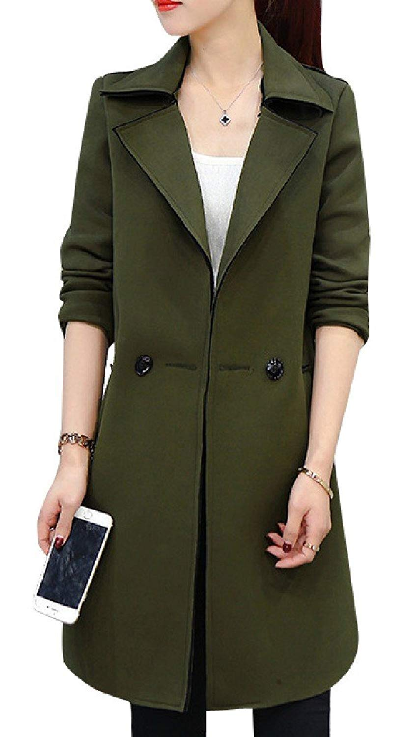 Zimaes-Women Silm All-Match Thin Long-Sleeve Mid Long Maxi Jacket Trenchcoat
