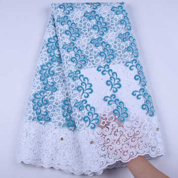 Hot Selling African Milk Silk Lace Fabric With Beads High Quality Nigerian Lace Fabric 2019 For Party & Wedding Dresses 1630
