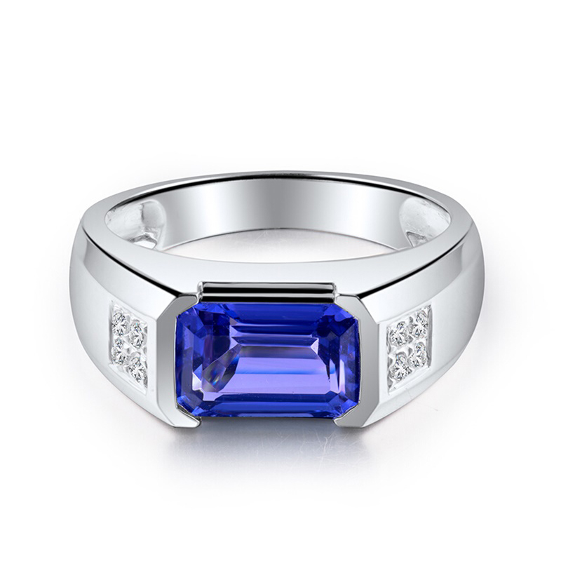 Hot Sale Jewelry Ring Precious Gemstone 2.98ct Natural Blue Tanzanite 18k Gold Ring For Men