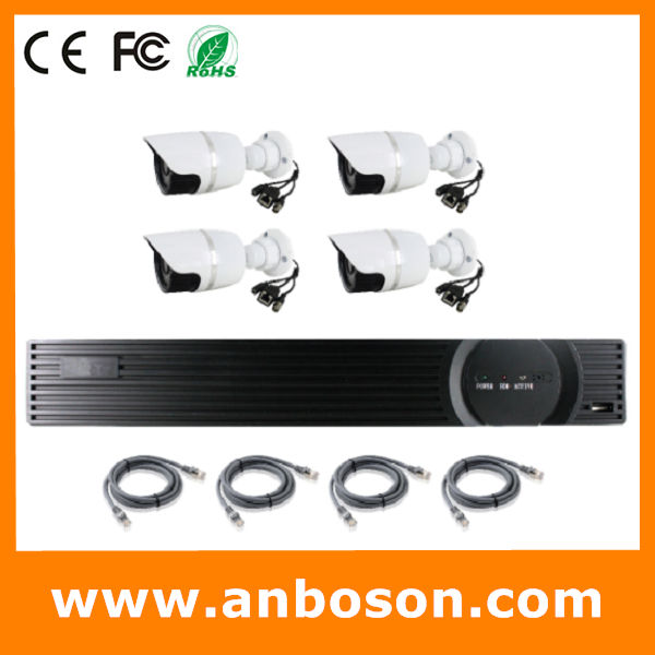 wireless nvr kit NVR KIT with 4pcs Outdoor 720P Waterproof IP Camera and pc 4ch p2p nvr, POE, WIFI, Optional