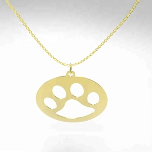 The hollow stainless steel paw dog footprints pendant necklace for dog lovers simple necklace