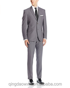 fashion dynamic designed grey plaid custom men suit