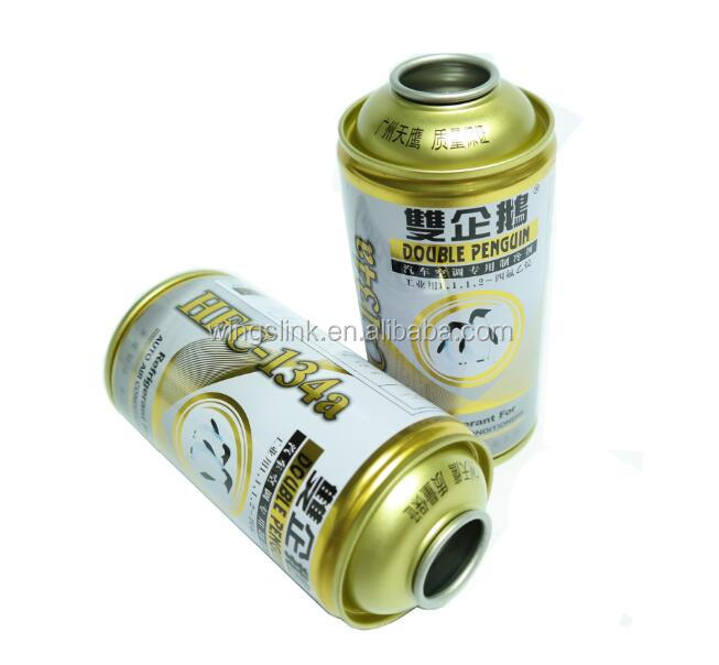 High Pressure HFC-134a empty metal tin refrigerant spray can