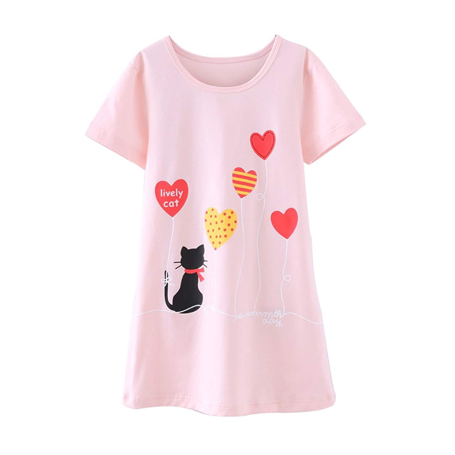 3f3c80c35e Get Quotations · Zegoo Lovely Pint Nightgowns for Girls Cotton Short Sleeve
