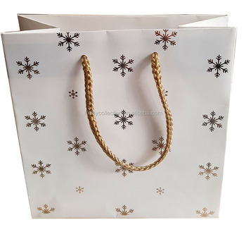 Christmas snow printed craft paper bag with rope handle