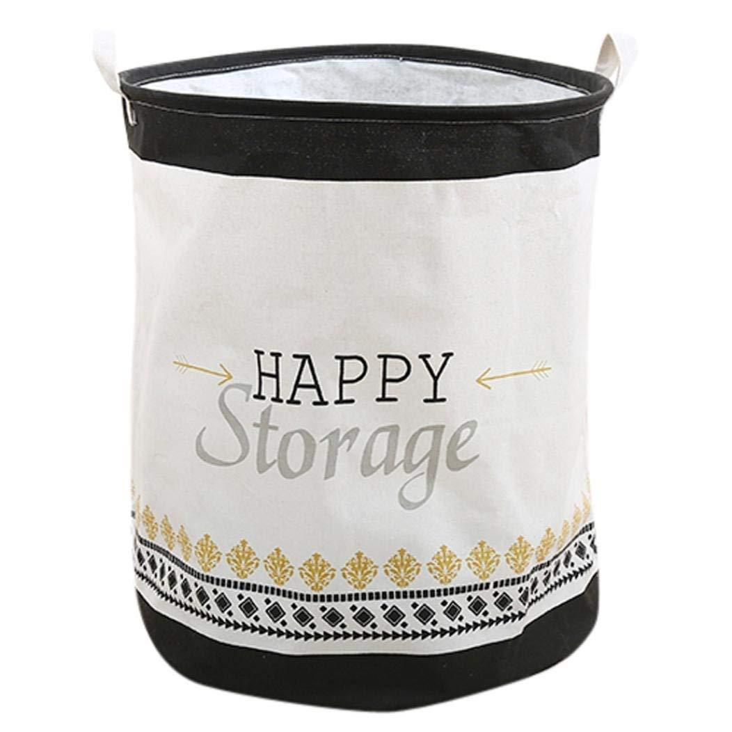 40X50cm Basket Storage Cotton Linen Waterproof PE Coating Sundries Toy Folding Storage Box For Home Hotel (C)