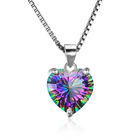 2018 Wholesale Mystic Quartz Heart Concave Pendant Necklace Vintage Design 925 Sterling Silver From Jewelry Palace