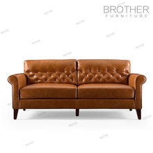 Antique style classic wood frame brown genuine leather chesterfield sofa