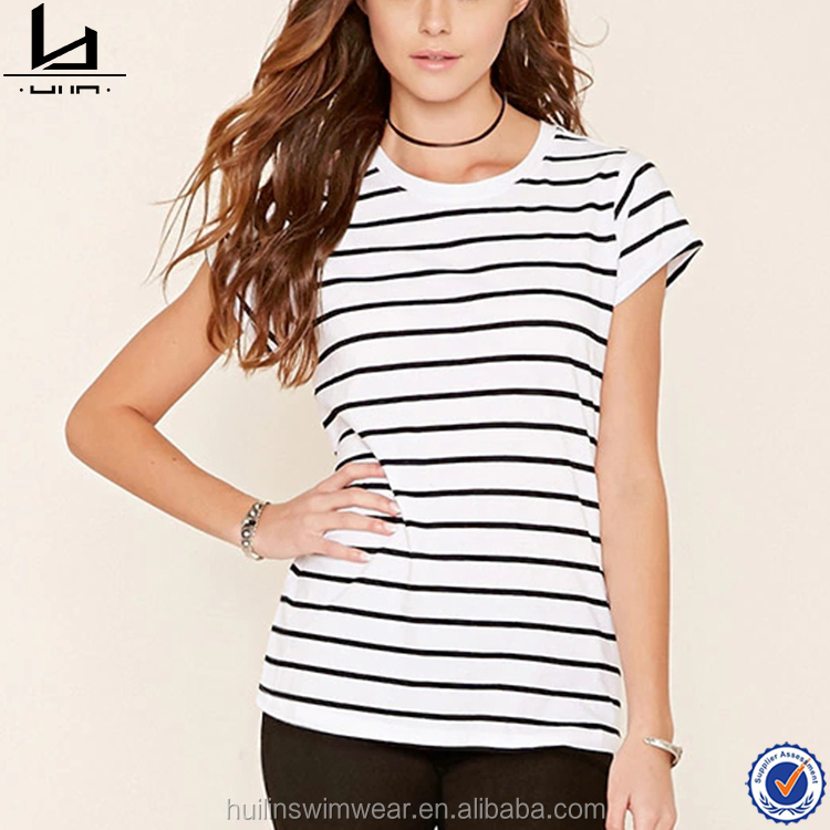 Dongguan Hui Lin Apparel the new design short sleeve striped printing round neckline t shirts for women