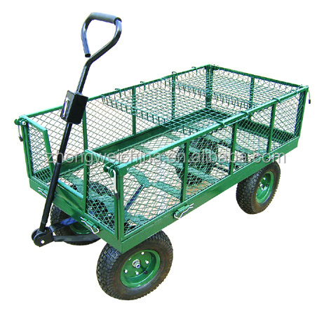 High Quality120KG OEM Mesh Foldable Steel Garden Tool Cart /garden hand trolley