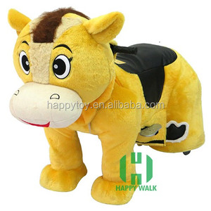 Kids popular toys motorized plush riding horse toys electric motorized animal toys with mickey mouse