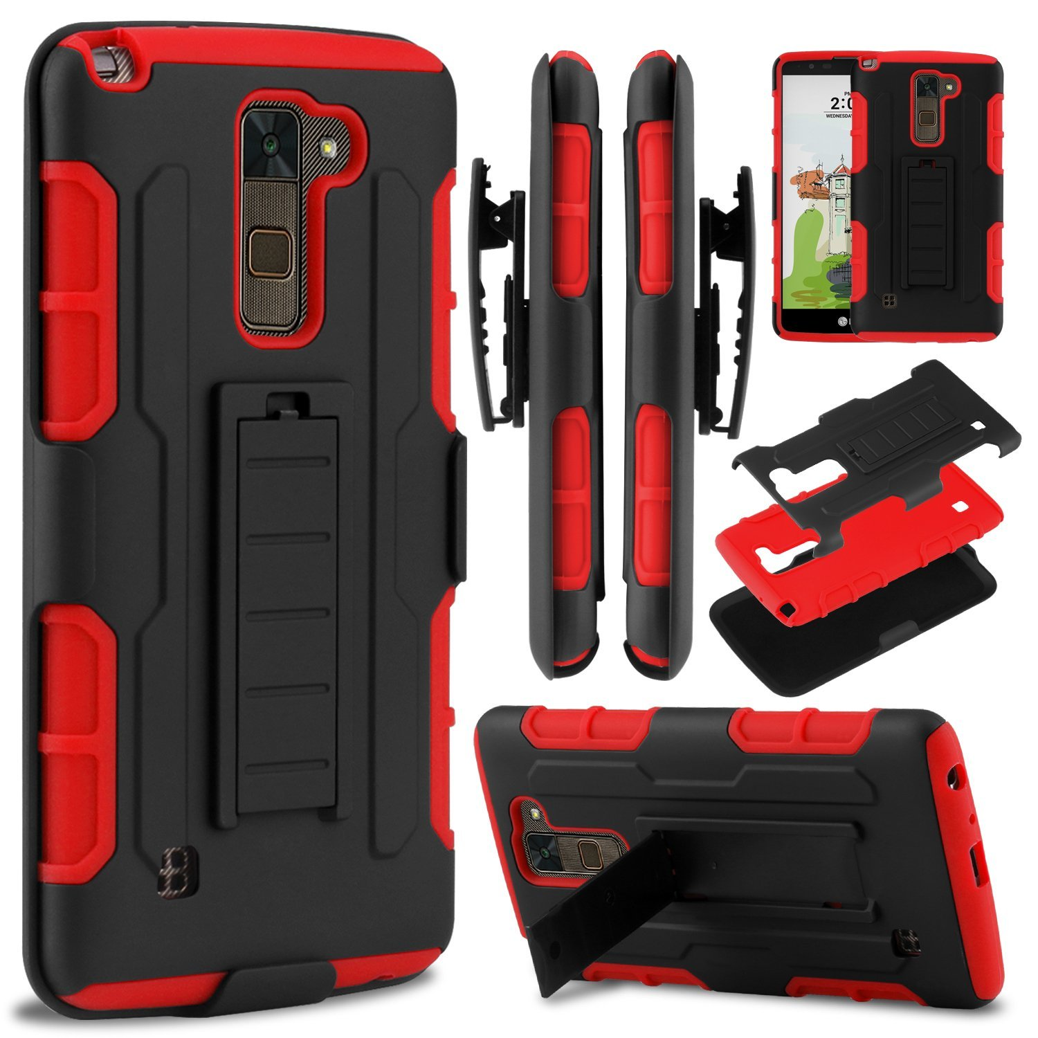 LG Stylo 2 Plus Case, LG Stylus 2 Plus Case, ELEGANT CHOISE Heavy Duty Dual Layer Rugged Combo Holster Case Cover with Kickstand & Swivel Belt Clip for LG G Stylo 2 Plus / LG Stylus 2 Plus (Red)