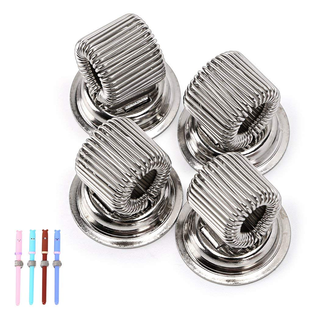 BTSKY Stainless Steel Magnetic Pen Holder Clips- Strong Magnetic Pen Clip Holder Fit Any Size Pens Magnetic Push pins for Refrigerator Whiteboard Erase Board and Bulletion Board Map(4pcs)
