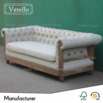 American Old Style Antique Wooden Sofa Linen Fabric