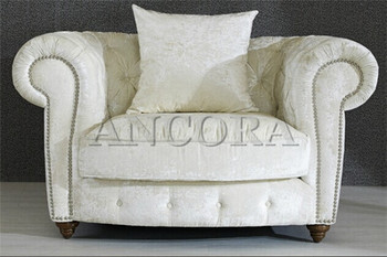French Style White Velvet Fabric Chair For Living Room AN 3005