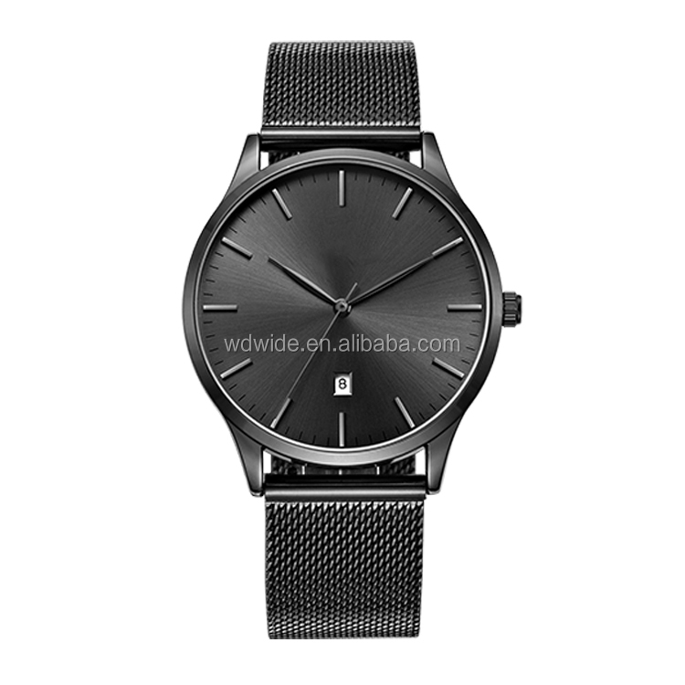 Quartz Movt Stainless steel chain black color wrist watch for man