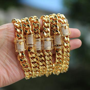 factory custom top quality hip hop bling mens jewelry cuban link chain gold  chain men bracelet 7165df562