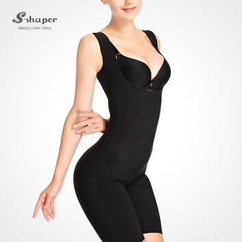 4dc113a357b S-SHAPER Italy Carvico Fabric Sleeveless Capri Bodysuit With Caffeine For  Lose Weight Seamless Underbust