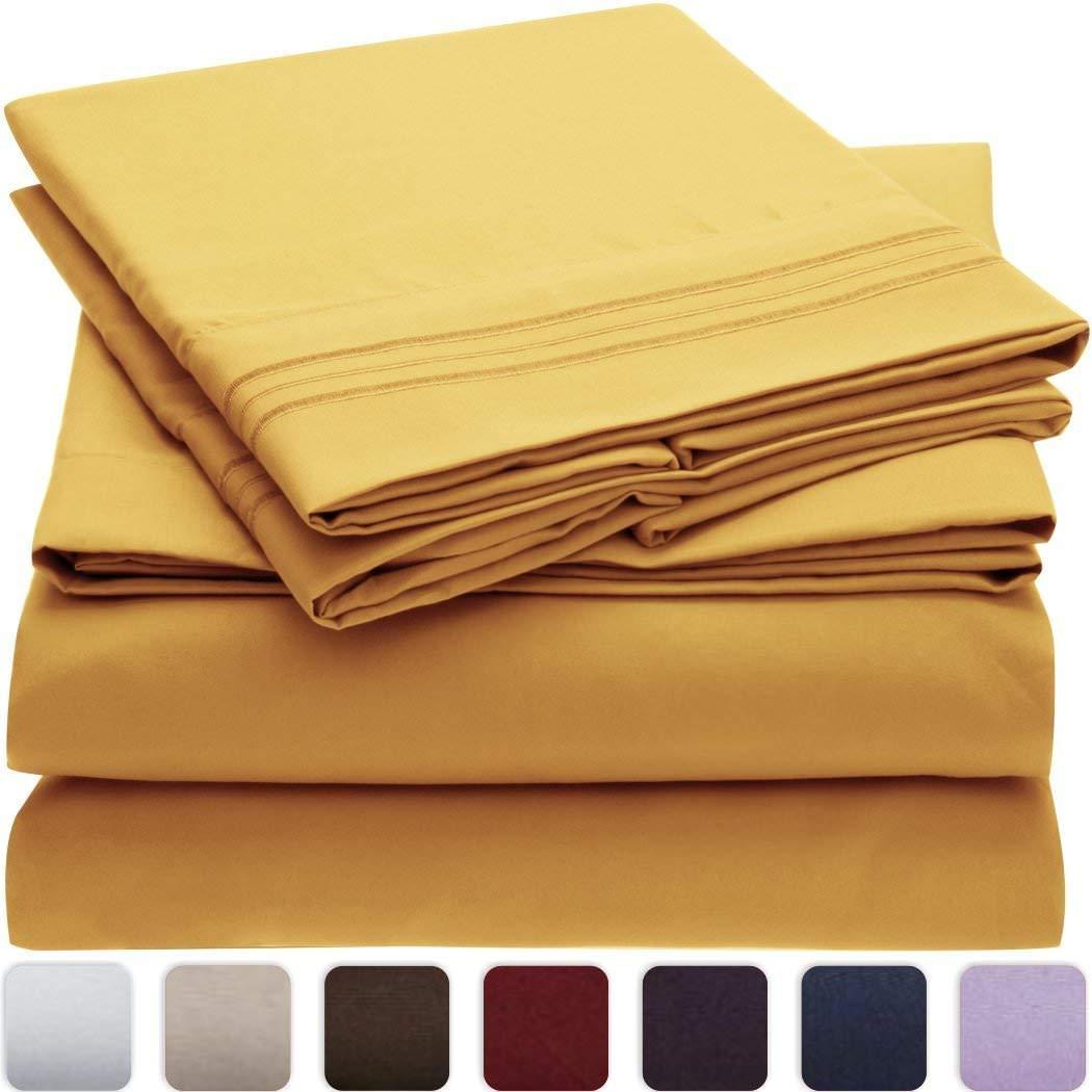 Nexis Sundry, Den 1000 TC 4 Piece Organic Cotton Bed Sheets, 20 Inches Deep Pockets, Luxurious & Comfortable, 100% Indian Organic Cotton Sheet, Yellow, Queen