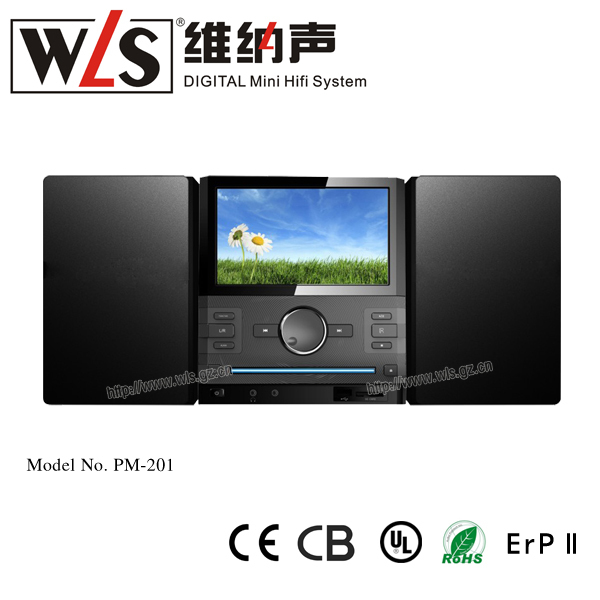 WLS High quality DVD/CD player hifi speaker PM201 with 2*15W(RMS) technics mini home theater system with dvd player