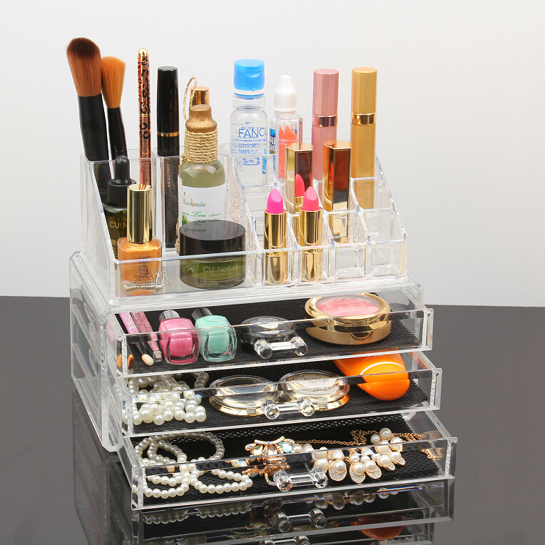 <strong>Cosmetic</strong> Make Up Clear Acrylic Lipstick Nailpaint Organiser with 6 Sections