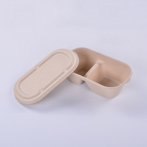 Cheap custom yellow bagasse take out craft paper food box,pulp paper box food packaging philippines