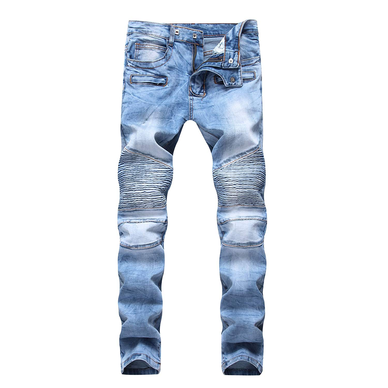 c2a752d35bc Get Quotations · IA ROD CA Men s Slim Fit Biker Distressed Jeans Light Blue  Denim Fit Straight Fashion Jeans