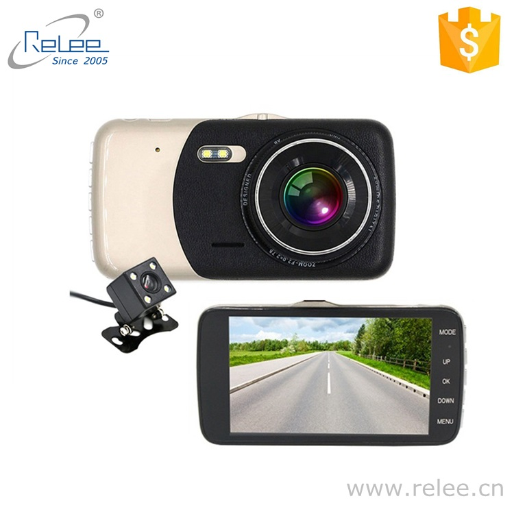 Cheaper price 4inch wider screen car dash board mounted DVR vehicle safety monitoring 2 camera video recorder
